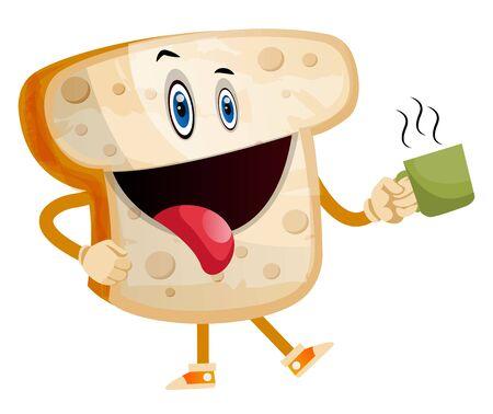 Hot Bread illustration vector on white background Vettoriali