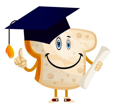 Graduating Bread illustration vector on white background