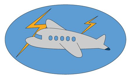 A small aircraft flying in thunder and lightings , vector, color drawing or illustration. Ilustração