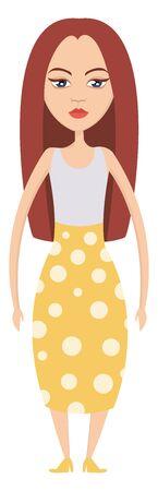 Red Hair Girl illustration vector on white background