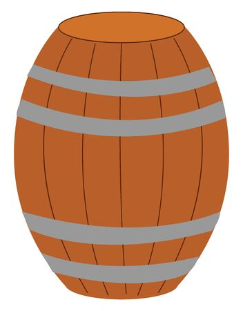 A wood barrel with lot of stripes on it , vector, color drawing or illustration.
