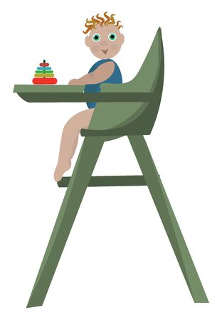 Small baby on high baby chair with his toy on it , vector, color drawing or illustration.