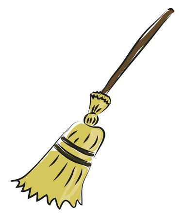 Broom hand drawn design, illustration, vector on white background.
