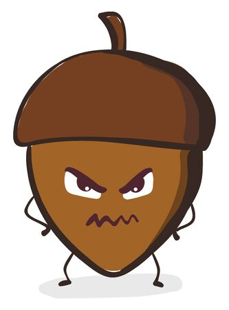 A brown acorn nut which is angry with angry smiley , vector, color drawing or illustration. Иллюстрация