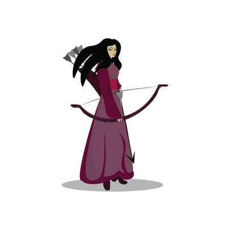 A tall archer girl with bow and arrows ready to shoot , vector, color drawing or illustration.