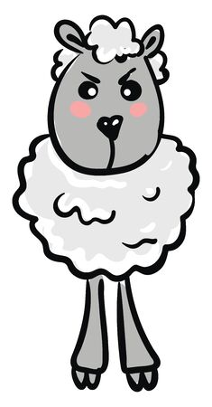 A funny cartoon of a sheep which is very angry , vector, color drawing or illustration. 일러스트