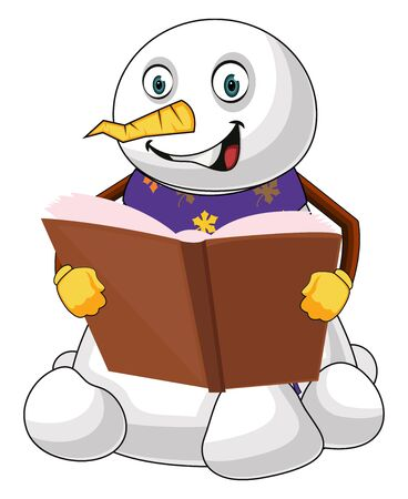 Reading snowman illustration vector on white background Vettoriali