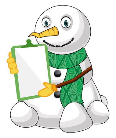 Snowman with memo pad illustration vector on white background