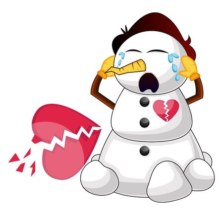 Broken snowman illustration vector on white background