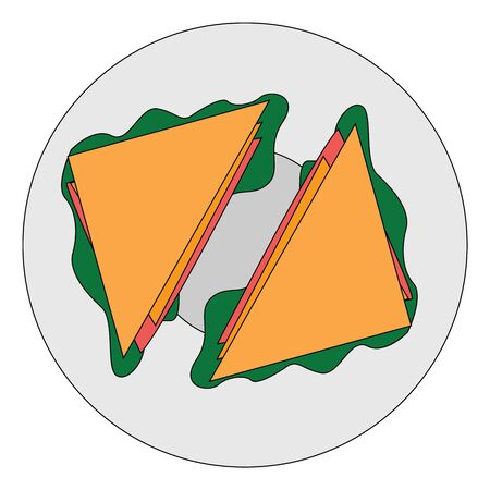 A plate of tasty sandwich stuffed with spinach and other healthy vegetables, vector, color drawing or illustration.