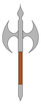 A sharp big axe with blade on two sides , vector, color drawing or illustration. Ilustração