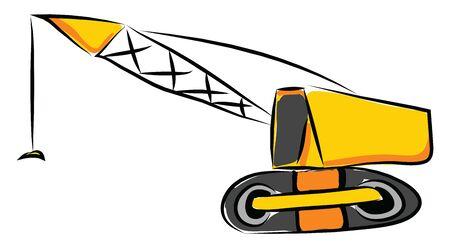 Crane hand drawn design, illustration, vector on white background.