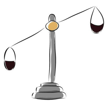 Old grey balance scale, illustration, vector on white background. Stock Illustratie