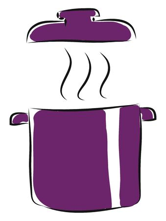 Purple pot with lid and steam, illustration, vector on white background.