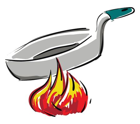 Grey pan with green handle on fire, illustration, vector on white background. 向量圖像