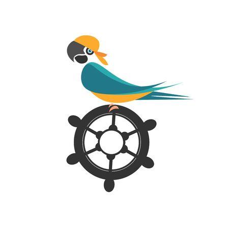 Parrot on the ship's wheel, illustration, vector on white background.