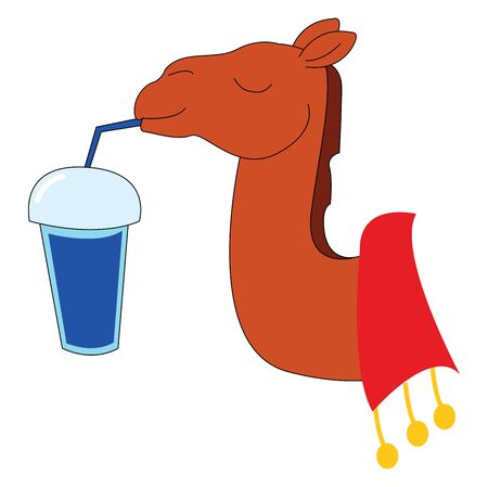 A camel enjoying the shake in a straw with its eyes closed , vector, color drawing or illustration. 일러스트