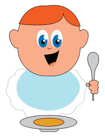 A small cute baby boy eating from a bowl in a spoon , vector, color drawing or illustration. Çizim