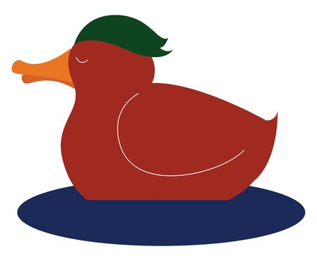 A cute duck on water in orange colour with long yellow beak , vector, color drawing or illustration.