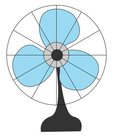 A small table fan in blue colour with three clean wings , vector, color drawing or illustration.
