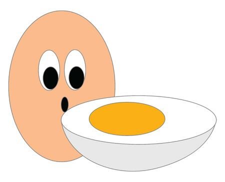 A slice of a healthy boiled egg with a full raw egg , vector, color drawing or illustration.