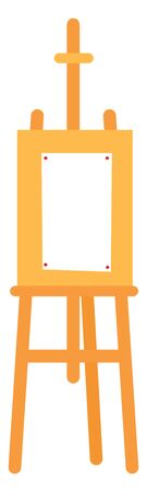 Easel set with a empty white paper to draw on it , vector, color drawing or illustration.