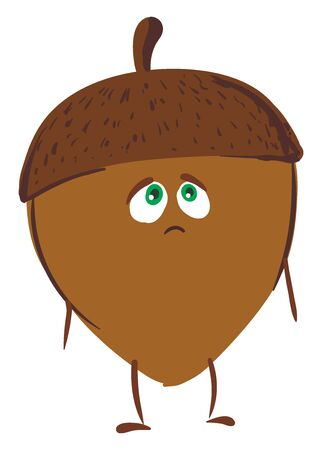 A emotional acron nut which seems to be sad and worried , vector, color drawing or illustration.