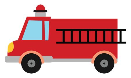 A fire engine vehicle with a siren and a ladder to save people , vector, color drawing or illustration.