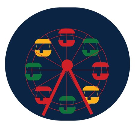A big and colourful ferris wheel without any kids on it , vector, color drawing or illustration.