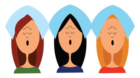 A group of female choir who were singing aloud praising the Lord , vector, color drawing or illustration. Illusztráció