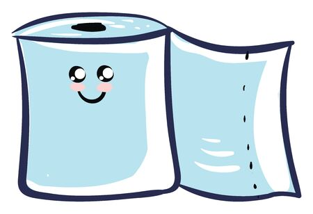 A new cute toilet paper which is to be hang in the stand , vector, color drawing or illustration.