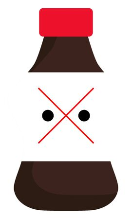 A picture showing a bottle of dangerous drink in brown colour , vector, color drawing or illustration.