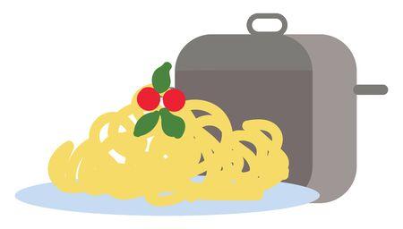 Spaghetti hand drawn design, illustration, vector on white background. Ilustração