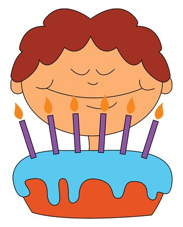 A boy standing before a big cake with lot of candles on it , vector, color drawing or illustration.