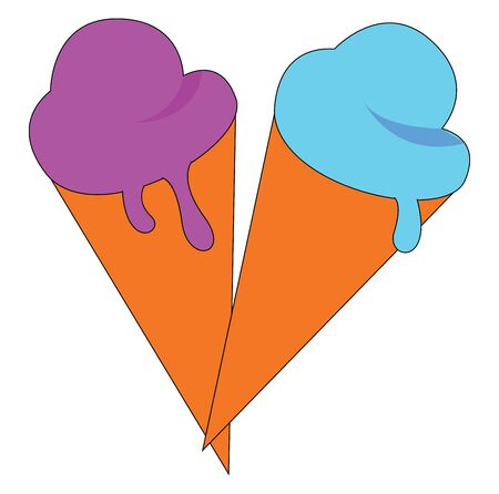 Ice cream hand drawn design, illustration, vector on white background.