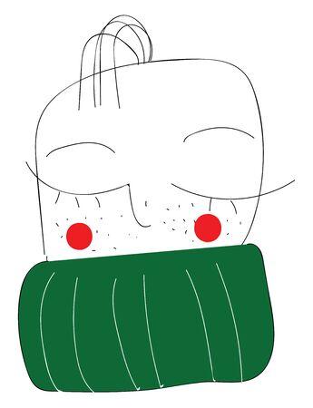Human face with scarf hand drawn design, illustration, vector on white background. Ilustração