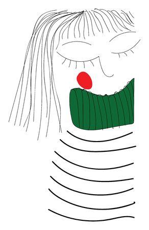 Girl with striped shirt hand drawn design, illustration, vector on white background. Ilustração