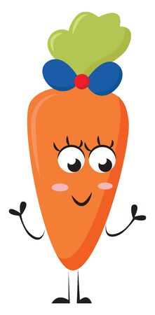 A cute girl carrot with pink cheeks and a beautiful blue bow on the head , vector, color drawing or illustration.