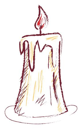 A beautiful sketch of a tall candle which is glowing , vector, color drawing or illustration. Çizim