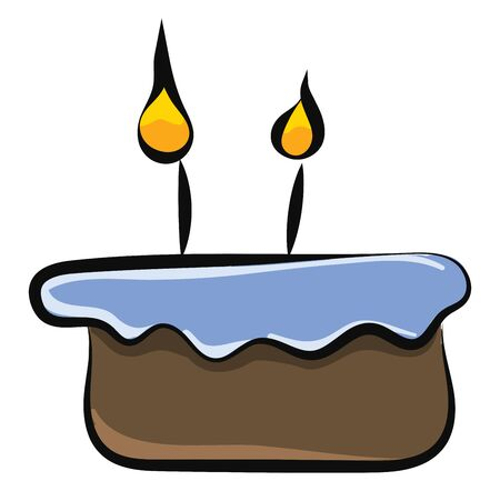 A cake icon with two candels glowing on it , vector, color drawing or illustration. Ilustração