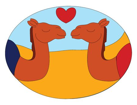 A love between two camels with a heart symbol between them , vector, color drawing or illustration.