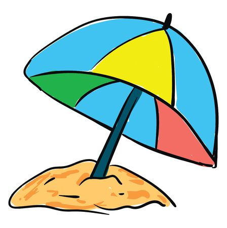 Beach umbrella hand drawn design, illustration, vector on white background.