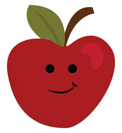A red apple which is happy and fresh , vector, color drawing or illustration.