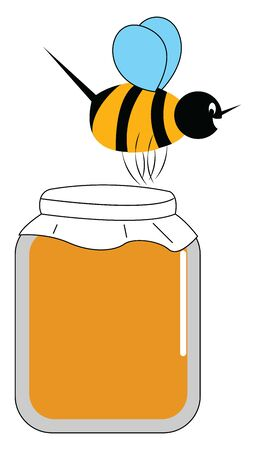 A honey bee flying over a honey jar which is pure and taken from the farm freshly , vector, color drawing or illustration.