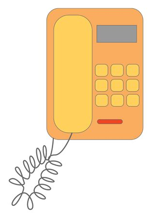 An orange wired landline telephone with connection , vector, color drawing or illustration.