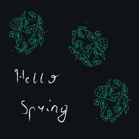 Welcoming the spring with hello with a bunch of green fallen leaves, vector, color drawing or illustration. Vectores