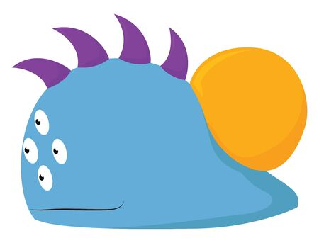 A blue jelly monster with four eyes and sharp horns, vector, color drawing or illustration. Illustration