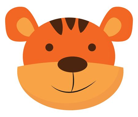 A small and cute baby tiger in orange and brown colour , vector, color drawing or illustration.