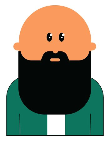 A bald man with very big beard in black colour , vector, color drawing or illustration.
