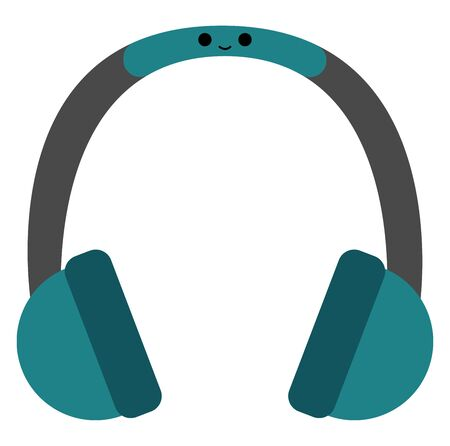 A cool looking blue headphones with a smiley , vector, color drawing or illustration.